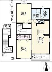 バンバハウス B[2階]の間取り