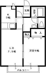ソレイユ弐番館 1階1LDKの間取り