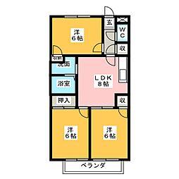 愛知県清須市西田中蓮池の賃貸マンションの間取り
