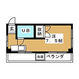 東急池上線 荏原中延駅 徒歩7分の賃貸マンション 2階ワンルームの間取り
