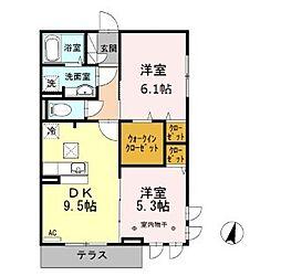 東京都足立区神明2丁目の賃貸アパートの間取り
