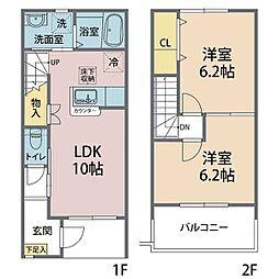 仮称)真岡市熊倉テラスハウス B棟 2階2LDKの間取り