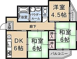 中村マンション[303号室号室]の間取り