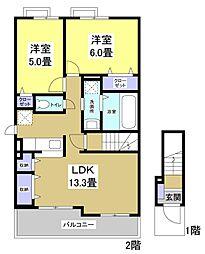 静岡県袋井市新池の賃貸アパートの間取り