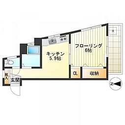 小川マンション[403号室]の間取り