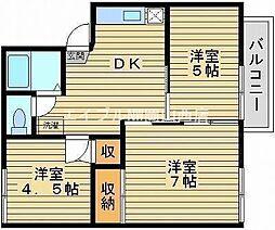 岡山県岡山市北区白石西新町の賃貸アパートの間取り