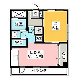 サンハイツ橋本[3階]の間取り