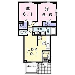 JR鹿児島本線 天拝山駅 徒歩12分の賃貸アパート 1階2LDKの間取り