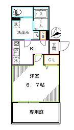 西武池袋線 江古田駅 徒歩6分の賃貸マンション 1階1Kの間取り