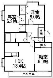 メゾンドインペリアルII[3階]の間取り
