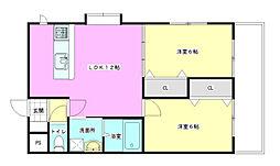 ラ・セーヌKoiII[2階]の間取り
