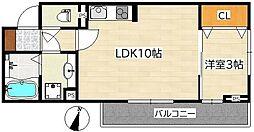 ハピネス柏木 2階1LDKの間取り