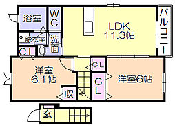 シェルブルー 2階2LDKの間取り
