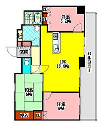Osaka Metro谷町線 大日駅 徒歩22分の賃貸マンション 5階3LDKの間取り