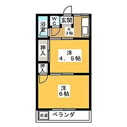 かんざ城荘[2階]の間取り
