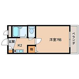 近鉄奈良線 東生駒駅 徒歩12分の賃貸マンション 3階1Kの間取り