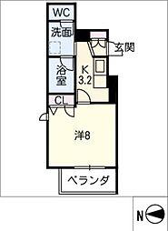 SERDINA KOSAKURA 3階1Kの間取り