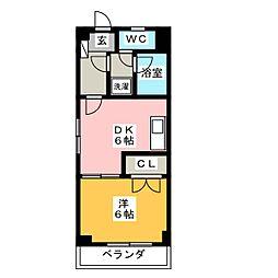 ベイコート横浜 4階1DKの間取り