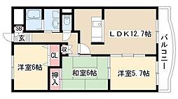 愛知県名古屋市緑区兵庫1丁目の賃貸マンションの間取り