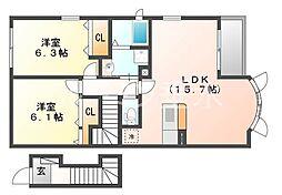 シャトーシモハタ3[2階]の間取り