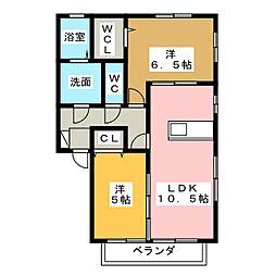静岡県静岡市葵区北安東5丁目の賃貸アパートの間取り