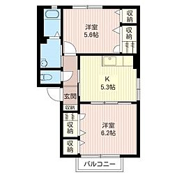 ホープ・ビラ[1階]の間取り