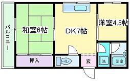 Osaka Metro御堂筋線 長居駅 徒歩10分の賃貸マンション 1階2DKの間取り