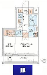 アジールコート新高円寺 8階1DKの間取り