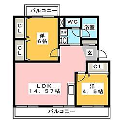 コーポ皿山[3階]の間取り