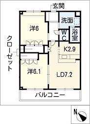 ルミナス田鶴[2階]の間取り