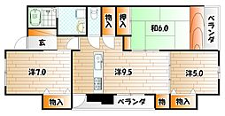 福岡県北九州市小倉南区長尾4丁目の賃貸マンションの間取り