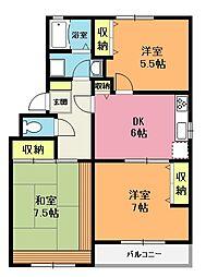 埼玉県上尾市浅間台3丁目の賃貸アパートの間取り