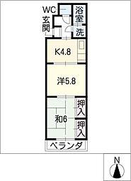 新清洲サンハイツ[4階]の間取り