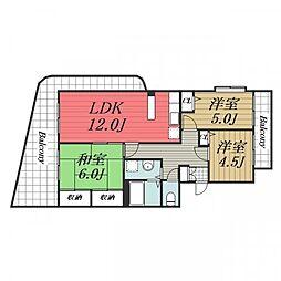 千葉県千葉市若葉区みつわ台1丁目の賃貸マンションの間取り
