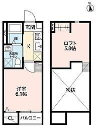 JR仙石線 苦竹駅 徒歩4分の賃貸アパート 1階1Kの間取り