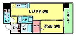 アーバネックス北堀江II 3階1LDKの間取り