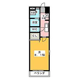 愛知県名古屋市西区上名古屋2の賃貸マンションの間取り