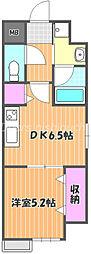JR宇野線 大元駅 徒歩10分の賃貸マンション 3階1DKの間取り