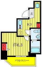 ランヴィ文京千駄木 3階1Kの間取り