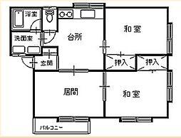 セジュール下村[202号室]の間取り