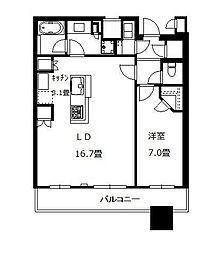 ブリリアタワーズ目黒サウスレジデンス 27階1LDKの間取り