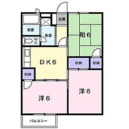 滋賀県大津市穴太2丁目の賃貸アパートの間取り