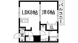 兵庫県伊丹市大野1丁目の賃貸マンションの間取り