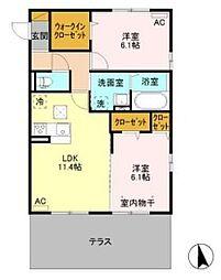 (仮)D-room境女塚[1階]の間取り