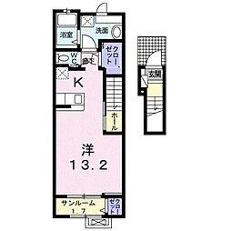 伊予鉄道環状線(JR松山駅経由) 本町六丁目駅 徒歩14分の賃貸アパート 2階1Kの間取り