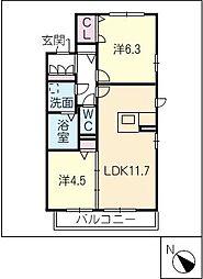クレスティーク扇台[2階]の間取り