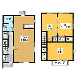[テラスハウス] 愛知県一宮市若竹4丁目 の賃貸【/】の間取り