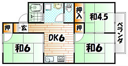 福岡県北九州市戸畑区夜宮2丁目の賃貸アパートの間取り