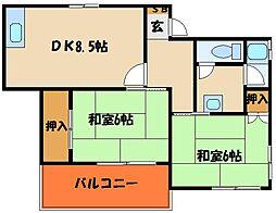 ハイツ宗田[4階]の間取り