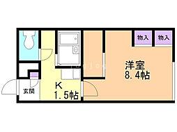 レオパレスサニーハイツ澄川 2階1Kの間取り